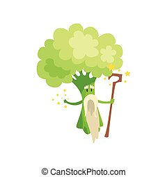 Broccoli Wizard With Staff And White Beard, Part Of Vegetables In Fantasy Disguises Series Of Cartoon Silly Characters