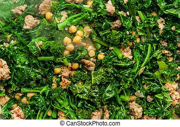 broccolini, embutido, cocina
