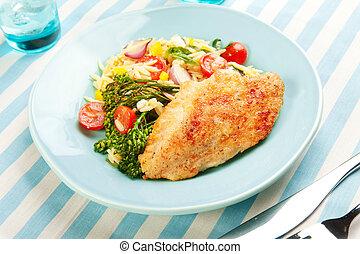 broccolini, pastas, seno pollo, ensalada