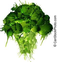 broccolo, fatto, di, colorito, schizzi, bianco, fondo