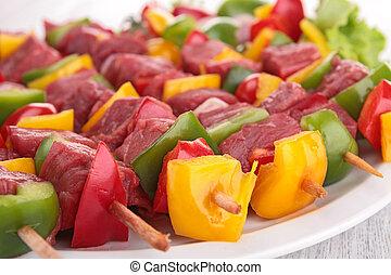 brocheta, carne de vaca, kebab