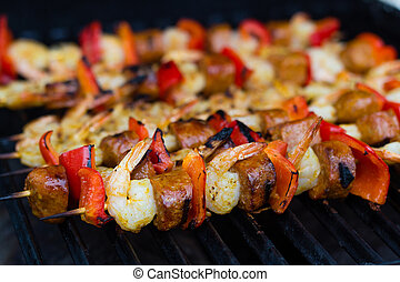 brocheta, embutido, picante, camarón