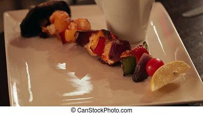 brochette, style, végétarien, restaurant
