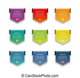 brochure, être, ensemble, business, toile, flèches, isolé, illustration, infographics, arrière-plan., vecteur, utilisé, boîte, origami, blanc, style., bas, design.