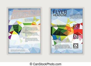 brochure, a4, résumé, taille, géométrique, aviateur, gabarits, vague, conception
