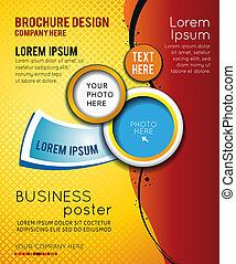 brochure, abstrakt, flyer, konstruktion, eller