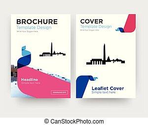 brochure, aviateur, conception, dc, gabarit