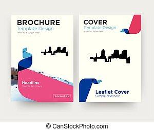 brochure, aviateur, conception, gabarit