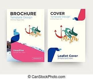 brochure, aviateur, conception, mythe, gabarit