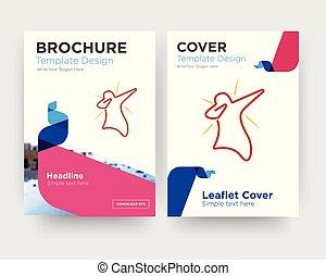 brochure, aviateur, conception, petit morceau, gabarit