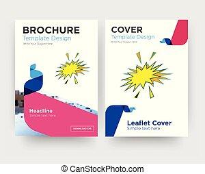 brochure, aviateur, starburst, conception, gabarit