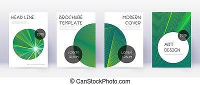 brochure, branché, abstrac, set., gabarit, conception, vert