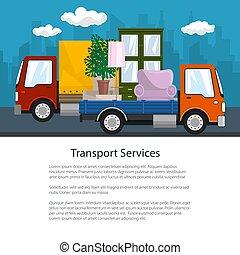 brochure, camion, petit, meubles, camion