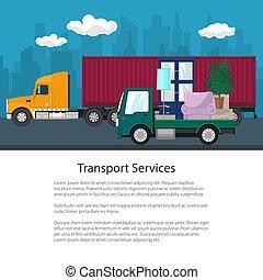brochure, cargaison, meubles, camion, camion