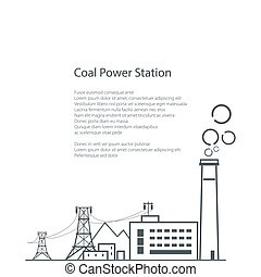 brochure, charbon, station, puissance, affiche