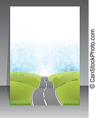 brochure, conception abstraite, route, fond