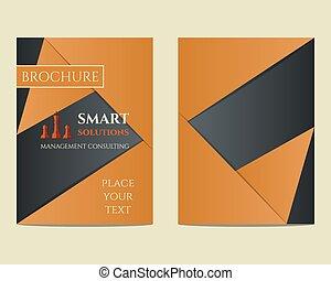 brochure, consultant, gestion, a4, concept., unique, vecteur, intelligent, aviateur, conception, solutions, gabarit, keywords, géométrique, taille, etc., compagnie, mieux, design.