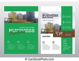 Brochure cover design layout with graphic elements and place...