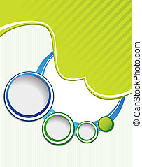 Background green template with wave - brochure design or flyer