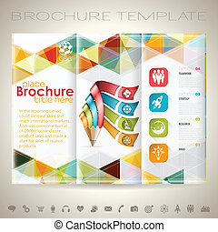 Business Brochure Design with Triangle Pattern, Pencil, Icons and Number Options. Vector Template.