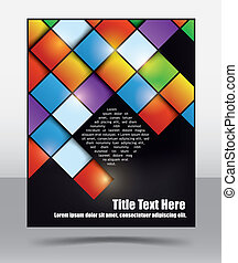 Brochure design template with dynamic glossy square pattern