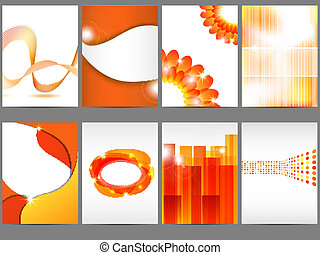 Brochure design - Vector orange brochure design set