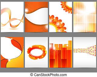 Brochure design - Vector orange brochure design set