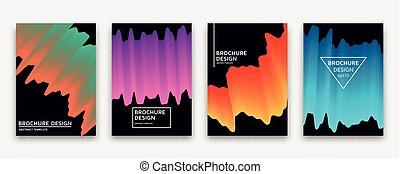 Brochure design with trendy neon gradients. Vector illustration.