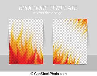 brochure, flamme