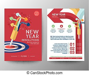 Brochure Flyer design Layout vector template iwith New Year...