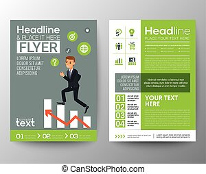 brochure flyer layout template with businessman climbing on red arrow stair chart