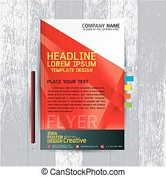brochure, flyers, poster, design layout template in A4 size with business, abstract, background wood vector, text, Leaflet cover presentation, annual report, Pencil, Bookmarks bright, modern, Colorful