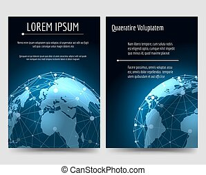 Brochure flyers template with earth sphere