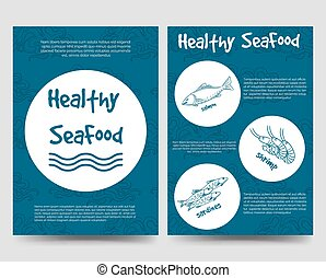 Brochure flyers template with healthy seafood