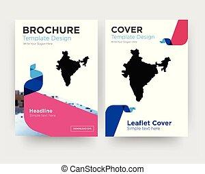 brochure, inde, aviateur, conception, gabarit