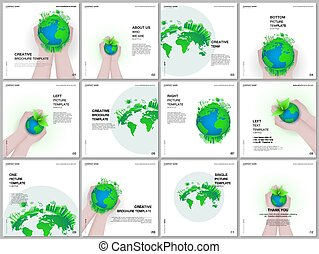 Brochure layout of square format covers design templates for square flyer leaflet, brochure design, report, magazine cover. Green world globe in the hands of man. Earth planet health care concept.