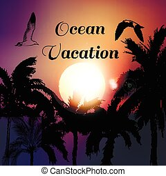 Brochure or poster design with vector palm trees on a sunset back. Ocean vacation.eps