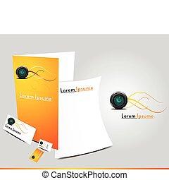 brochure, orange, résumé