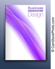 Brochure Purple Cover Template Vector Design for Business Presentation with Abstract Flowing Background