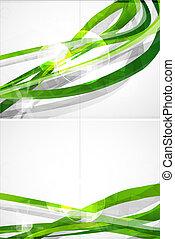 brochure, résumé vert, vecteur, lignes