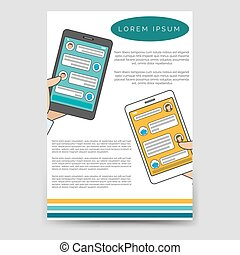 Brochure template chat bot connected flyer