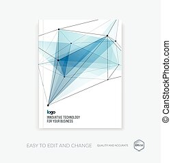 Brochure template, cover design annual report, flyer layout, leaflet in A4 with abstract triangles and polygons grid for business, technology and science with future network idea. Vector.