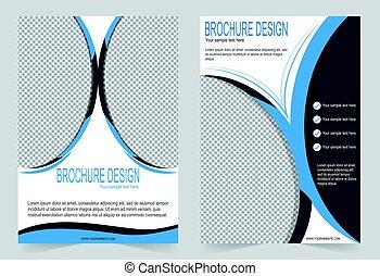 Brochure template, Flyer design blue template