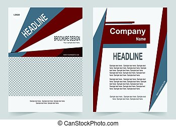 Brochure template, Flyer design, red abstract vector background.