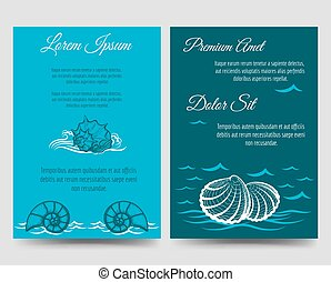 Brochure template flyers with sea shells - Brochure flyers...