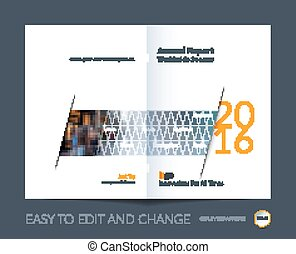 Brochure template layout, cover design annual report, magazine, flyer, leaflet in A4 with triangles for business, technology and science with overlay transparency effect. Vector.