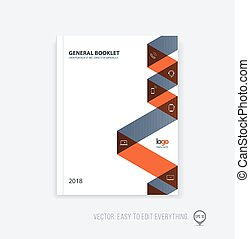 Brochure template layout, cover design annual report, magazine, flyer or booklet in A4 with dynamic triangular geometric shapes and folding stripe ribbon. Business vector flat style.