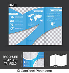 Blue logistics brochure leaflet tri-fold design back template vector illustration
