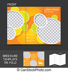 Brochure template tri fold - Orange circles brochure leaflet...