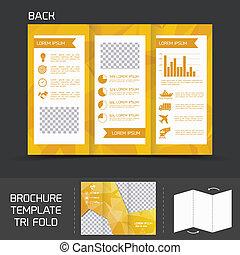 Brochure template tri fold - Yellow logistics paper brochure...